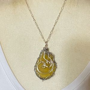 Yellow Agate Slice Wrapped Pendant